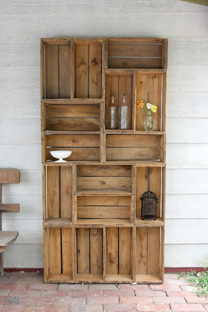 bookshelf made from antique apple crates